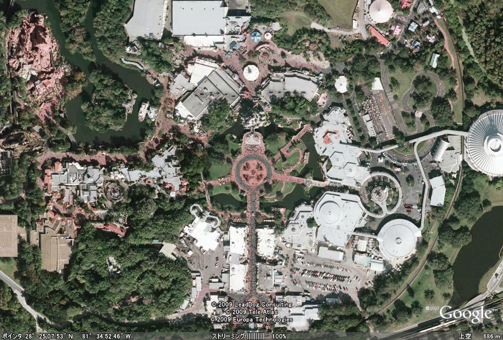 ディズニーランド・フロリダ ディズニーランド・フロリダのグーグルアース画像 アメリカ・フロリダ州